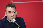 The 2019 UAE Tour Elia Viviani (ITA) Deceuninck-Quick Step spoke to the media this afternoon in Louvre Abu Dhabi, United Arab Emirates. 23rd February 2019.<br />