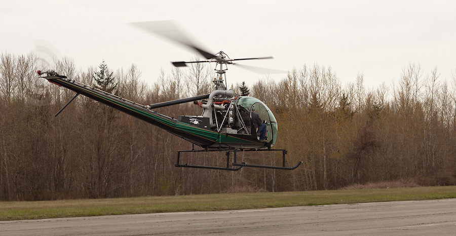 A Hiller helicopter takes off from an airport runway.