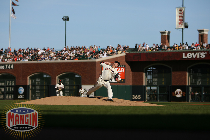 SAN FRANCISCO - May 6:  Pitcher Tim Lincecum of the San Francisco Giants pitches in his Major League debut during the game against the Philadelphia Phillies at AT&T Park in San Francisco, California on May 6, 2007. (Photo by Brad Mangin)