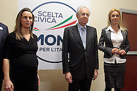 Valentina Vezzali, Mario Monti e Annalisa Minetti.Roma 15/02/2013 Presentazione del programma per lo sport della Scelta Civica Monti per l'Italia..The italian premier presents his program for sport for the next elections 2013 and candidate two of the best athlets in the world at the past olympic and paralympic games. .Photo Samantha Zucchi Insidefoto