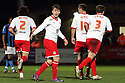 Luke Freeman of Stevenage (2nd l) celebrates after scoring their first goal. - Stevenage v Bournemouth - npower League 1 - Lamex Stadium, Stevenage - 27th March, 2012. © Kevin Coleman 2012.