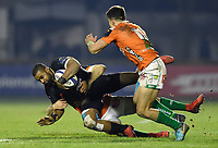 Aled Brew of Bath Rugby is tackled to ground. European Rugby Champions Cup match, between Benetton Rugby and Bath Rugby on January 20, 2018 at the Municipal Stadium of Monigo in Treviso, Italy. Photo by: Patrick Khachfe / Onside Images