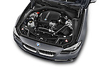Car Stock 2015 BMW 5 Series 528i 4 Door Sedan Engine high angle detail view