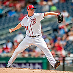 1 August 2018: Washington Nationals pitcher Ryan Madson on the mound against the New York Mets at Nationals Park in Washington, DC. The Nationals defeated the Mets 5-3 to sweep the 2-game weekday series. Mandatory Credit: Ed Wolfstein Photo *** RAW (NEF) Image File Available ***