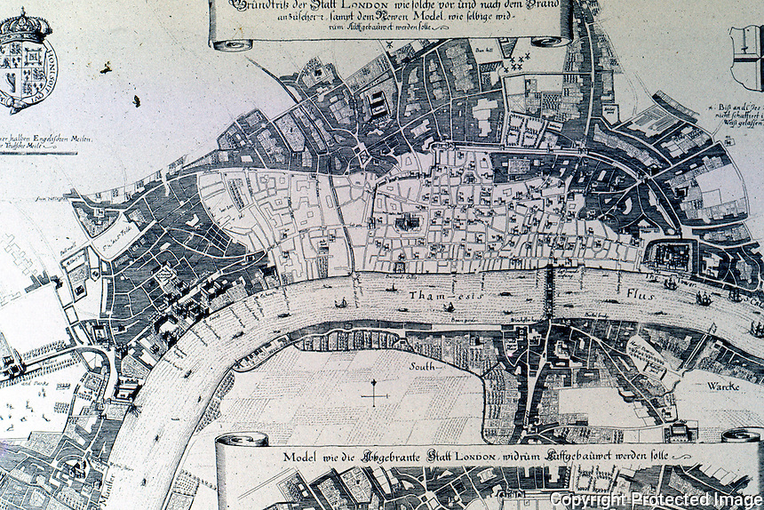 London: Plan of Great Fire of 1666 and Robert Hooke's Proposal for Rebuilding the City. REPS, FIG. 10.   Reference only.