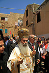 Israel, Greek Orthodox Patriarch Theophilus III leads the St. George's Day procession around the Greek Orthodox Church of St. George in Acco