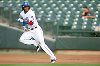 Round Rock Express outfielder Julio Borbon #20 steals second during first inning of the Pacific Coast League baseball game against the New Orleans Zephyrs on April 30, 2012 at The Dell Diamond in Round Rock, Texas. The Zephyrs defeated the Express 5-3. (Andrew Woolley / Four Seam Images)