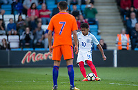 Marcus Edwards of England score from a free kick during the International friendly match between England U20 and Netherlands U20 at New Bucks Head, Telford, England on 31 August 2017. Photo by Andy Rowland.
