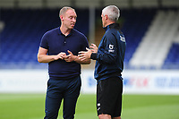 Steve Cooper Head Coach of Swansea City speaks with Mike Marsh, assistant first team coach for Swansea City during the pre-season friendly match between Bristol Rovers and Swansea City at The Memorial Stadium in Bristol, England, UK. Tuesday, 23 July 2019