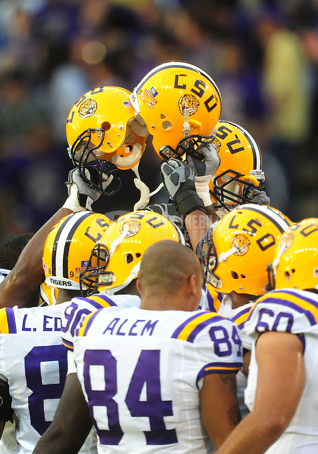 Sept. 5, 2009; Seattle, WA, USA; LSU Tigers players huddle prior to the game against the Washington Huskies at Husky Stadium. Mandatory Credit: Mark J. Rebilas-