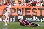 Barcelona´s Munir in front of Rayo Vallecano´s Morcillo during La Liga match between Rayo Vallecano and Barcelona at Vallecas stadium in Madrid, Spain. October 04, 2014. (ALTERPHOTOS/Victor Blanco)