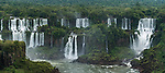 Iguazu Falls National Park in Argentina, as viewed from Brazil.  A UNESCO World Heritage Site.  Pictured from left to right are Mbigua, Bernabe Mendez, Adam and Eve, and Bossetti Falls.