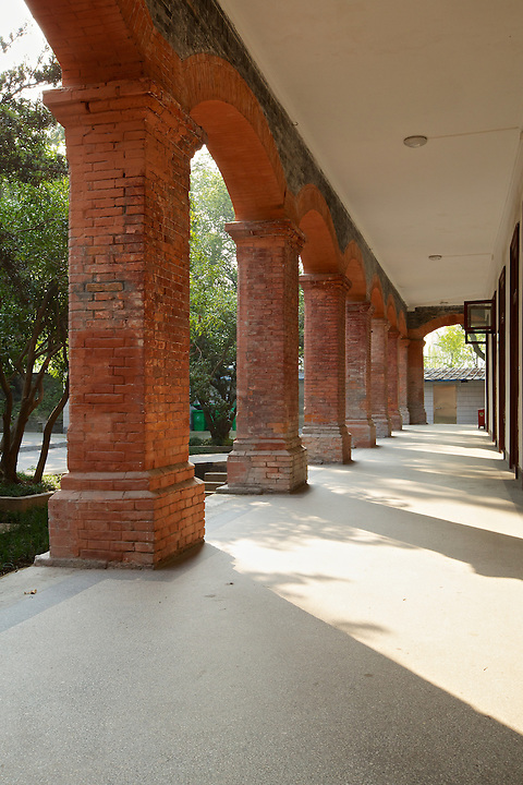 Custom House Colonnade, Customs Compound, Foreign Settlement, Hangzhou (Hangchow).  The Compound Is Now Part Of A University Hospital.