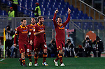 Calcio, Serie A: Roma vs Milan. Roma, stadio Olimpico, 22 dicembre 2012..AS Roma defender Nicolas Burdisso, of Argentina, right, celebrates with teammates after scoring during the Italian Serie A football match between AS Roma and AC Milan at Rome's Olympic stadium, 22 December 2012..UPDATE IMAGES PRESS/Isabella Bonotto