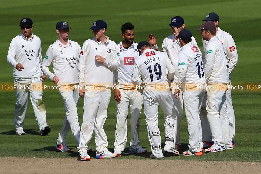 Ajmal Shahzad (C) is congratulated by his team mates after taking the wicket of Daniel Lawrence during Sussex CCC vs Essex CCC, Specsavers County Championship Division 2 Cricket at The 1st Central County Ground on 20th April 2016