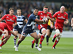 Johnny Leota of Sale Sharks makes a break behind the munster line - European Rugby Champions Cup - Sale Sharks vs Munster -  AJ Bell Stadium - Salford- England - 18th October 2014  - Picture Simon Bellis/Sportimage