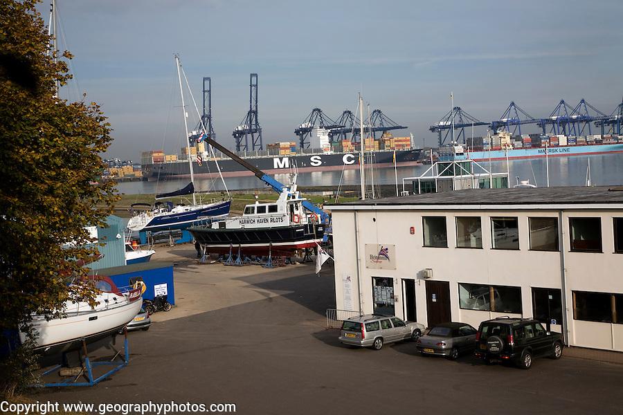 Port of Felixstowe from Shotley marina, Suffolk, England