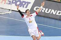 25.01.2013 Barcelona, Spain. IHF men's world championship, Semi-final. Picture show Rasmus Lauge in action during game between Spain vs Slovenia at Palau St. Jordi