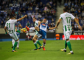 30th October 2017, Cornella-El Prat, Cornella de Llobregat, Barcelona, Spain; La Liga football, Espanyol versus Real Betis; Sergi Darder of RCD Espanyol against three Betis players;