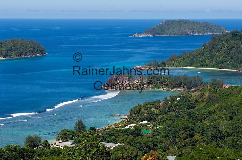 Seychelles, Island Mahe: view across west coast at Port Glaud