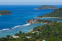 Seychelles, Island Mahe: view across west coast at Port Glaud