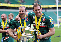 Geordan Muprhy and Julian Salvi with the Aviva Premiership trophy. Aviva Premiership Final, between Leicester Tigers and Northampton Saints on May 25, 2013 at Twickenham Stadium in London, England. Photo by: Patrick Khachfe / Onside Images