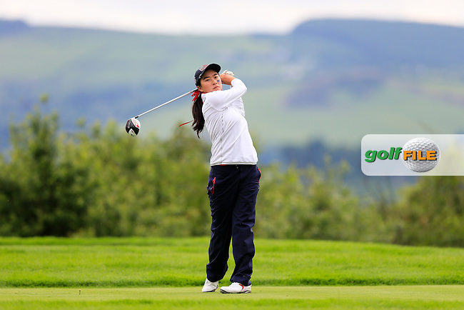 Mika Liu during Sunday Singles matches at the 2016 Curtis cup from Dun Laoghaire Golf Club, Ballyman Rd, Enniskerry, Co. Wicklow, Ireland. 12/06/2016.<br /> Picture Fran Caffrey / Golffile.ie<br /> <br /> All photo usage must carry mandatory copyright credit (&copy; Golffile | Fran Caffrey)