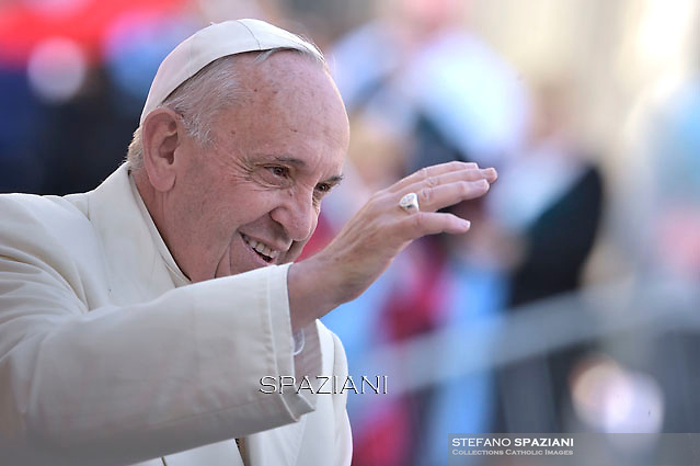 Pope Francis  during his weekly general audience in St. Peter square at the Vatican, Wednesday.November 11, 2015.