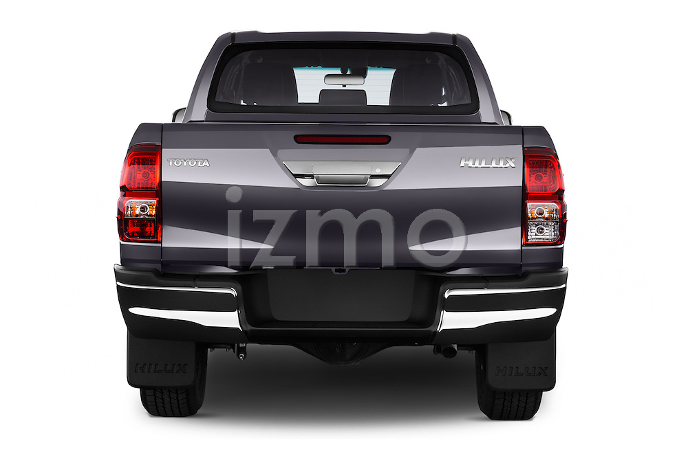 Straight rear view of 2017 Toyota Hilux Lounge-Double 4 Door Pickup Rear View  stock images