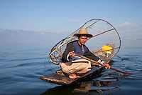Myanmar, Burma.  Fisherman, Inle Lake, Shan State.