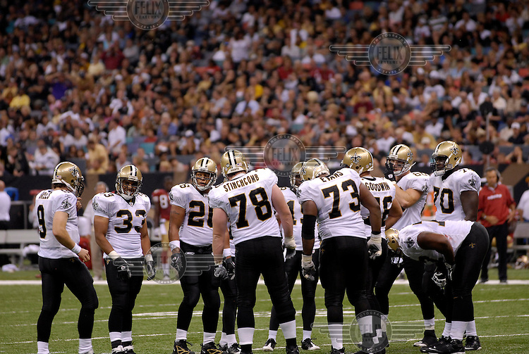New Orleans Saints players during their American Football match against the San Francisco 49'ers.