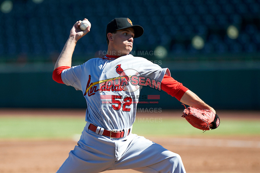 Surprise Saguaros pitcher Boone Whiting #52, of the St. Louis Cardinals organization, during an Arizona Fall League game against the Scottsdale Scorpions at Scottsdale Stadium on October 16, 2012 in Scottsdale, Arizona.  Surprise defeated Scottsdale 11-3.  (Mike Janes/Four Seam Images)