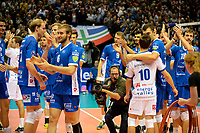 GRONINGEN - Volleybal, Abiant Lycurgus - Luboteni, voorronde Champions League, seizoen 2017-2018, 26-10-2017 blijdschap na de 3-0 zege
