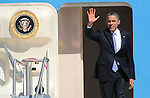President Barack Obama lands at Reno-Tahoe International airport, Tuesday, Aug. 21, 2012, in Reno, Nev..Photo by Cathleen Allison
