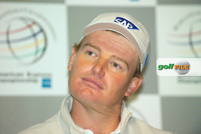 THOMASTOWN, IRELAND. Ernie Els of the SA speaking at the press conference after the American Express Championship day two at the Mount Juliet Golf Club on October 1th, 2004 in Thomastown, Ireland ..Photo AFP/NEWSFILE/FRAN CAFFREY..(Photo credit should read FRAN CAFFREY/NEWSFILE/AFP)...This Picture has been sent you under the condtions enclosed by:.Newsfile Ltd..the Studio,.Millmount Abbey,.Drogheda,.Co Meath..Ireland..Tel: +353(0)41-9871240.Fax: +353(0)41-9871260.GSM: +353(0)86-2500958.email: pictures@newsfile.ie.www.newsfile.ie.FTP: 193.120.102.198..This picture is from Fran Caffrey@newsfile.ie