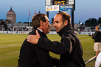 Sky Blue FC head coach Jim Gabarra shakes hands with Western New York Flash head coach Aaran Lines before the match. The Western New York Flash defeated Sky Blue FC 2-0 during a National Women's Soccer League (NWSL) semifinal match at Sahlen's Stadium in Rochester, NY, on August 24, 2013.