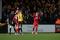 Ref Trevor Kettle sends off O's Myles Judd during Cambridge United vs Leyton Orient, Sky Bet EFL League 2 Football at Abbey Stadium on 21st December 2019