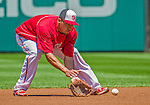 8 June 2013: Washington Nationals shortstop Ian Desmond fields some infield grounders prior to a game against the Minnesota Twins at Nationals Park in Washington, DC. The Twins edged out the Nationals 4-3 in 11 innings. Mandatory Credit: Ed Wolfstein Photo *** RAW (NEF) Image File Available ***