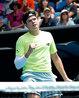26th January 2020; Melbourne Park, Melbourne, Victoria, Australia; Australian Open Tennis, Day 7; Milos  Raonic of Canada celebrates a point during his match against Mario Cilic of Croatia