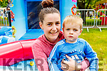 Trisha Murphy and Mason Shanahan from Tralee enjoying the bouncy castle at Feile na mBlath in the Tralee town park on Saturday.