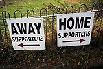 A sign directing home and away supporters to the Crabble, pictured before National League Dover Athletic hosted League 2 Cambridge United in an FA Cup first round replay. The club was founded in 1983 after the dissolution of the town's previous club Dover FC, whose place in the Southern League was taken by the new club. Cambridge United won the tie by 4-2 after extra time, watched by a crowd of 1158.