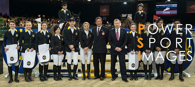HKJC JETS learn from Edwina Tops-Alexander as part of a series of international rider clinics at the 2014 Longines HK Masters at the Asia World Expo in Hong Kong, China. Photo by Andy Jones / Power Sport Images
