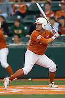 Texas Longhorns outfielder Mark Payton #2 at bat against the Oklahoma Sooners in the NCAA baseball game on April 5, 2013 at UFCU DischFalk Field in Austin Texas. Oklahoma defeated Texas 2-1. (Andrew Woolley/Four Seam Images).