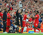 Daniel Sturridge of Liverpool is replaced by Philippe Coutinho of Liverpool during the Premier League match at Anfield Stadium, Liverpool. Picture date: September 10th, 2016. Pic Simon Bellis/Sportimage