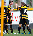 Alloa's Stephen Simmons (2nd left) celebrates after he scores their first goal.
