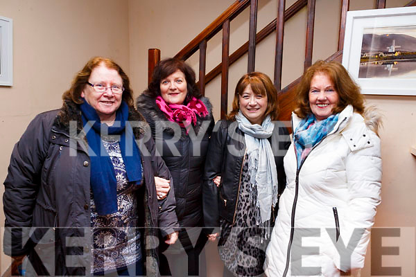 Attending the opening night of the Kerry Drama Festival in the Ivy Leaf in Castleisland on Sunday night. L-r, Peggy Dolan (Killarney), Liz Ryan (Killarney), Clara Reidy (Tralee) and Mary Murphy (Fossa).