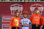 Marianne Vos (NED) and Ashleigh Moolman-Pasio (RSA) CCC Liv at sign on before the Strade Bianche Women Elite 2019 running 133km from Siena to Siena, held over the white gravel roads of Tuscany, Italy. 9th March 2019.<br /> Picture: Seamus Yore | Cyclefile<br /> <br /> <br /> All photos usage must carry mandatory copyright credit (© Cyclefile | Seamus Yore)