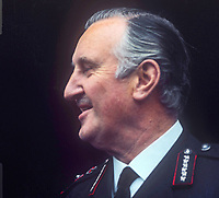 Sir Arthur Young, Commissioner of the City of London Police, who was seconded in 1969 to the RUC, Royal Ulster Constabulary, to implement the Hunt Report, which introduced the standard British rank system for police officers in Northern Ireland. Young had the distinction of being the RUC's last Inspector-General and its first Chief Constable. November 1969. 196911000258c<br />