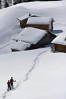 Europe/Italie/Trentin Haut-Adige/Dolomites/Val-Gardena/Selva Gardena :Randonnée en raquettes  avec Reinhardt Senoner,guide.Chalet d'altitude et Massif des Dolomites
