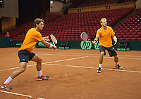 11-sept.-2013,Netherlands, Groningen,  Martini Plaza, Tennis, DavisCup Netherlands-Austria, Dutch team practice , Thiemo de Bakker® and Jesse Huta Galung (NED)<br /> Photo: Henk Koster